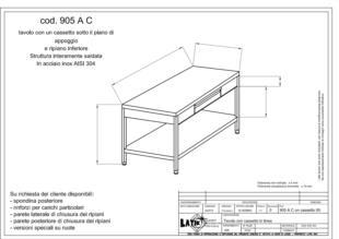 tavolo-acciaio-inox-con cassetto-sotto-piano-905AC