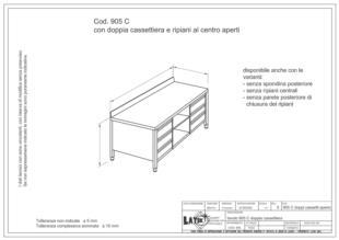 tavolo-acciaio-inox-con-doppia-cassettiera-ripiani-al-centro-905C